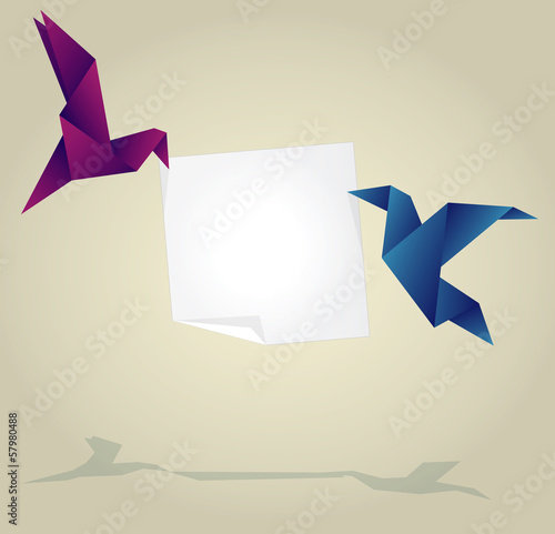 Canvas Prints Geometric animals Origami Birds Holding Empty Paper Banner