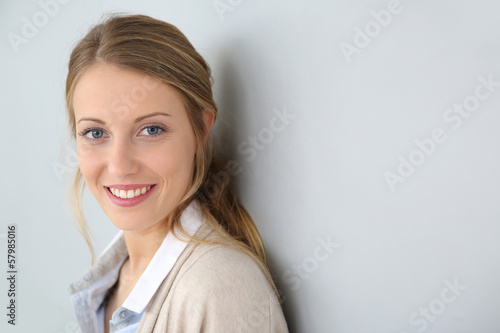 Portrait of beautiful blond girl, isolated