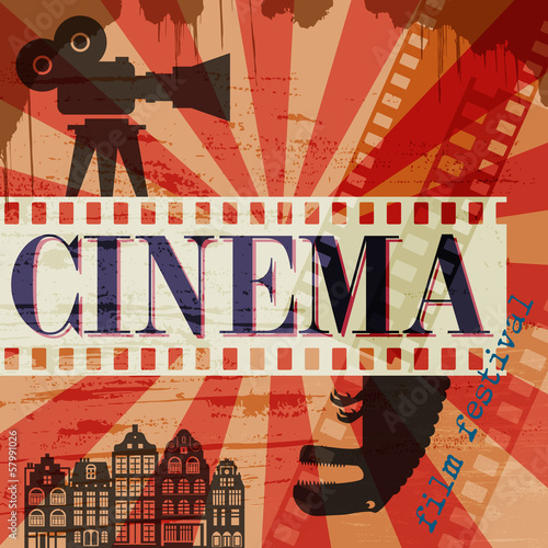 Obraz w ramie Retro cinema poster, vector