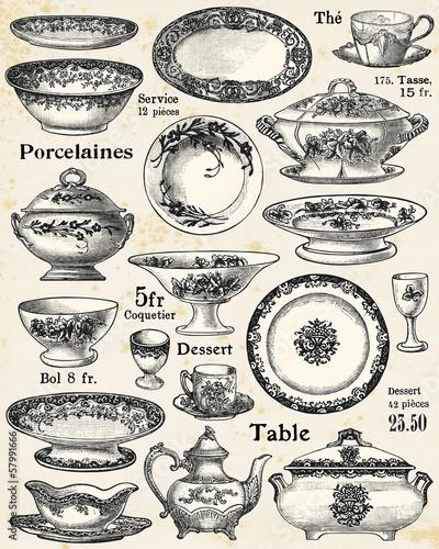 Porcelain dishes Canvas Print