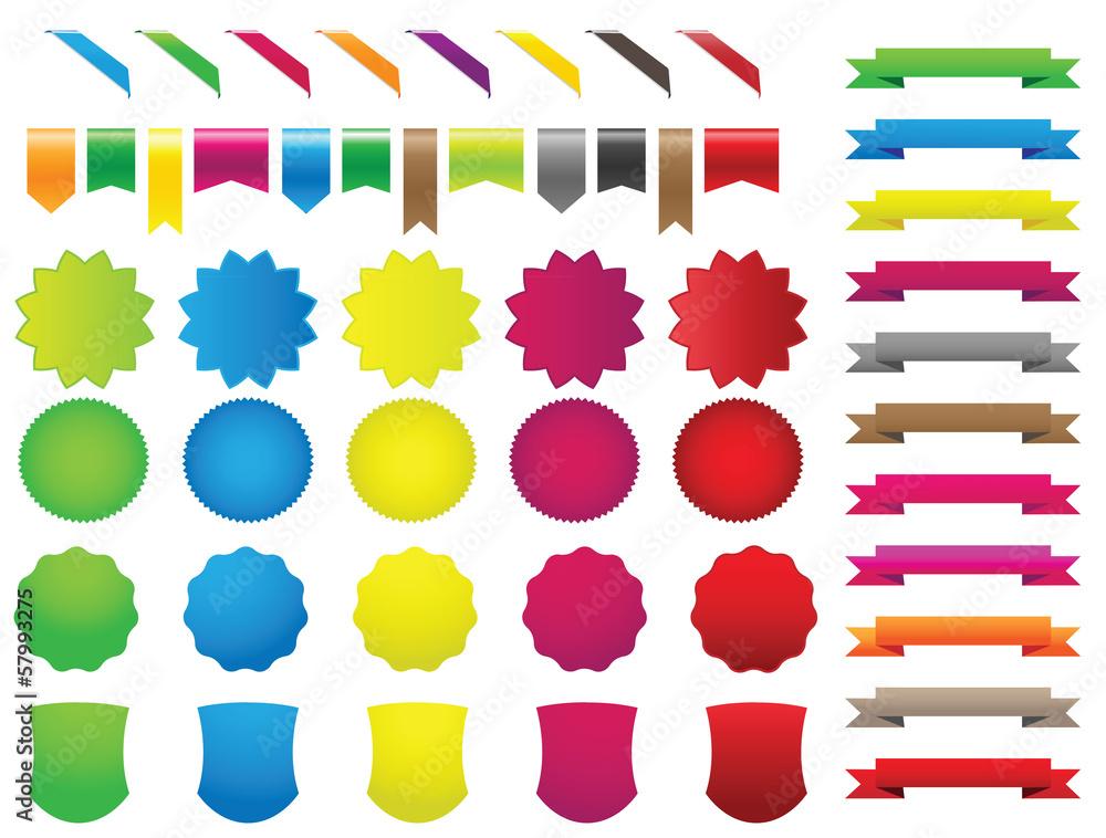 Fototapeta ribbons stickers colors set