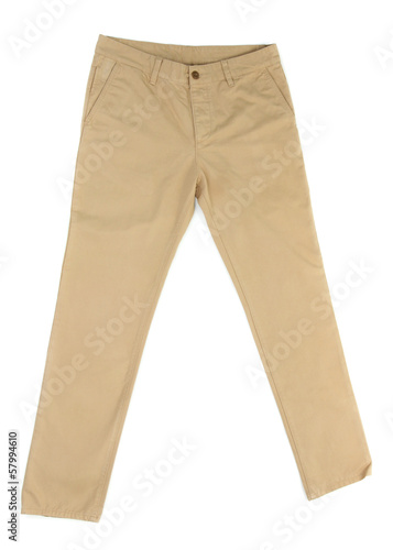 Fotografie, Obraz  Beige trousers isolated on white