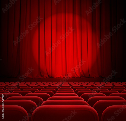 In de dag Theater cinema red curtains with spotlight and seats