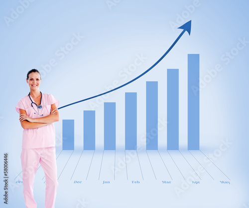 Fotografía  Composite image of beautiful nurse standing in front of the came