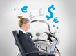 Composite image of businesswoman sitting on swivel chair with la