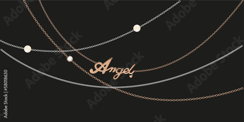 Foto  Different golden, silver necklace with golden angle pendant.