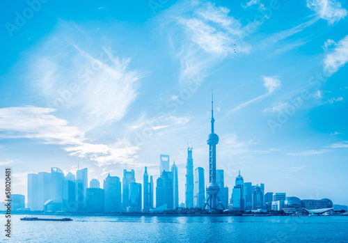 Spoed Foto op Canvas Dubai blue shanghai skyline