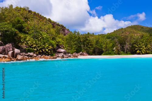 Wall Murals Green coral Tropical beach at island Praslin Seychelles