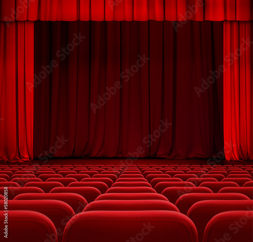 In de dag Theater theater or cinema curtain or drapes with red seats