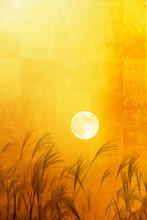 金屏風とススキと満月