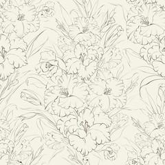 Seamless pattern  beautiful fresh iris flowers.