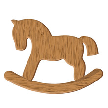 Vector Wooden Horse Toy Isolated On White