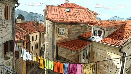 Panel Szklany Uliczki Street in Roma - illustration