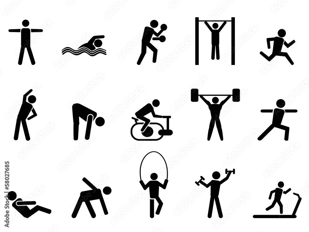zestaw ikon ludzi czarny fitness
