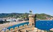 Costa Brava, beach and medieval castle in Tossa de Mar, Cataloni
