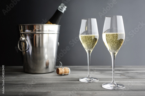 Fotografie, Obraz  Two glasses of Champagne and Cooler
