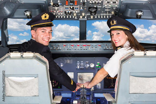 Vászonkép Pilots in the Cockpit