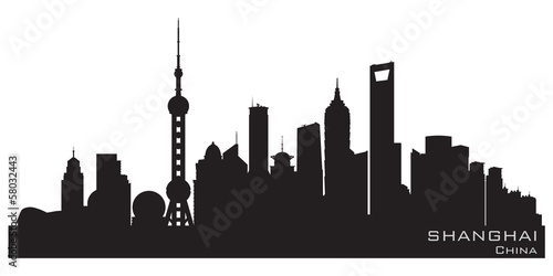 Photo  Shanghai China city skyline vector silhouette