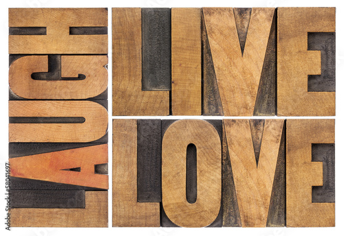 live, love, laugh in wood type Wallpaper Mural