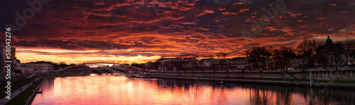 Tuinposter Bordeaux Beautiful Red Sunset Near a Bridge