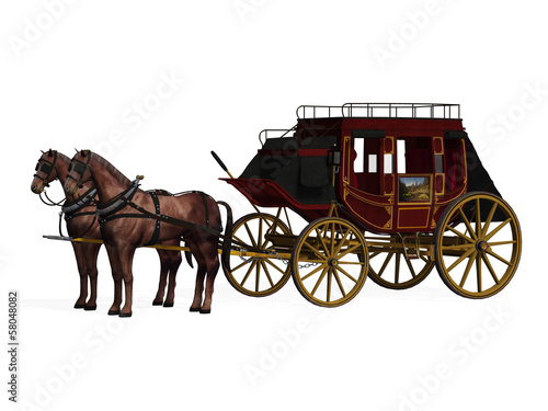 Stagecoach with Horses Fototapet