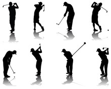 Set Of Golf Silhouettes-vector...