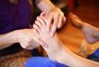 reflexology foot massage, spa foot treatment by wood stick,Thail