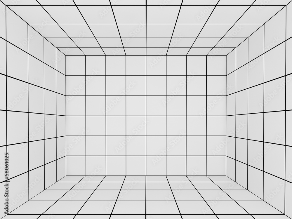 Fototapeta white space with perspective grid , 3d