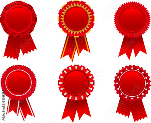 Photo Red award rosette set