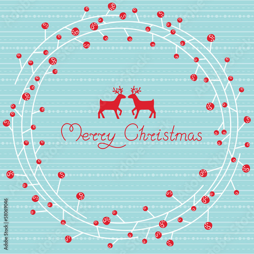 Greeting card with a festive wreath. Vector illustration