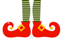 Christmas Cartoon Elf's Legs Isolated On White
