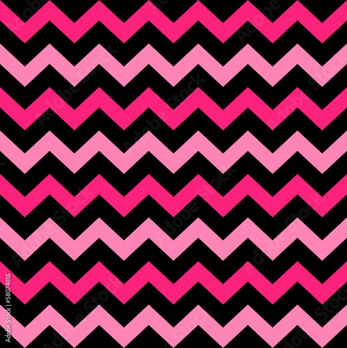 Deurstickers ZigZag Cute Chevron seamless pattern ( black and pink )
