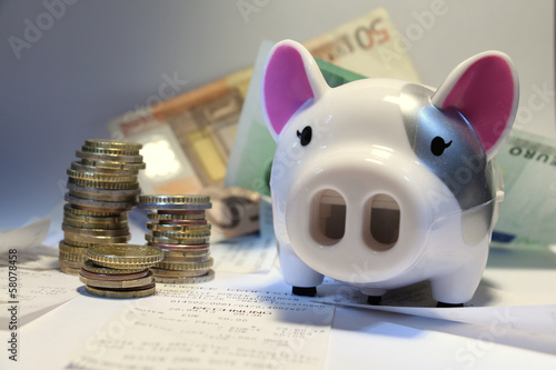 Obraz na plátne fg1 FirstGraphic - english: colorful piggy bank with euro coins and bank notes -