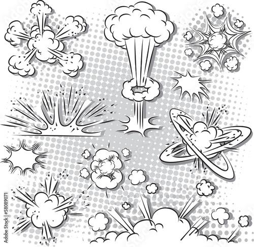 Fotografie, Obraz  Vector illustration of comic style explosion set