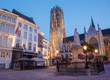 canvas print picture - Mechelen - St. Rumbold's cathedral in dusk