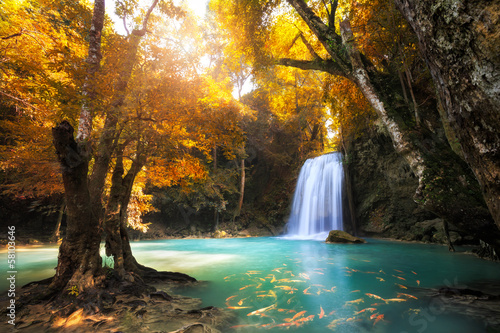 Photo Stands Gray traffic Deep forest Waterfall in Kanchanaburi, Thailand