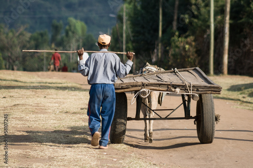 Staande foto Afrika Farmer with his shabby cart pulled by a donkey, Ethiopia, Africa