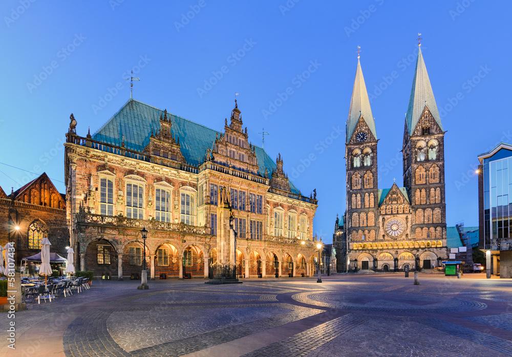Fototapety, obrazy: Rathaus und Dom von Bremen