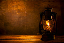 Oil Lamp On Wood