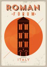 Vintage Roman Forum Poster