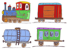 Colored Vintage Train With Wagons