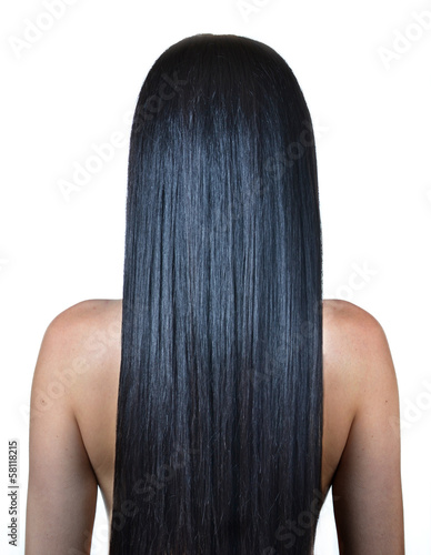 woman with long straight hair, isolated on white