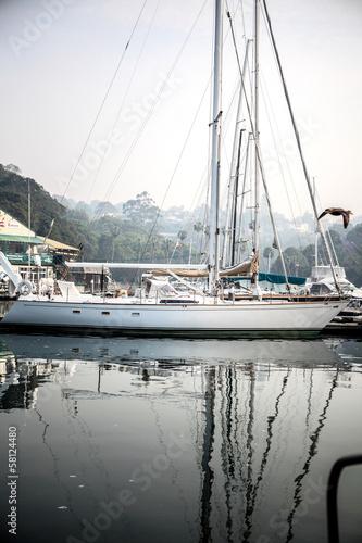 Keuken foto achterwand Schip Early morning boat Marina