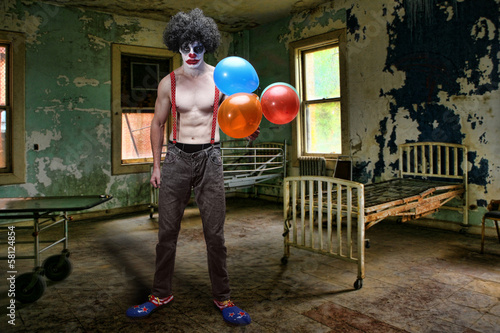 Fotografie, Obraz  Evil Clown Inside Condemned Room With Hospital Bed