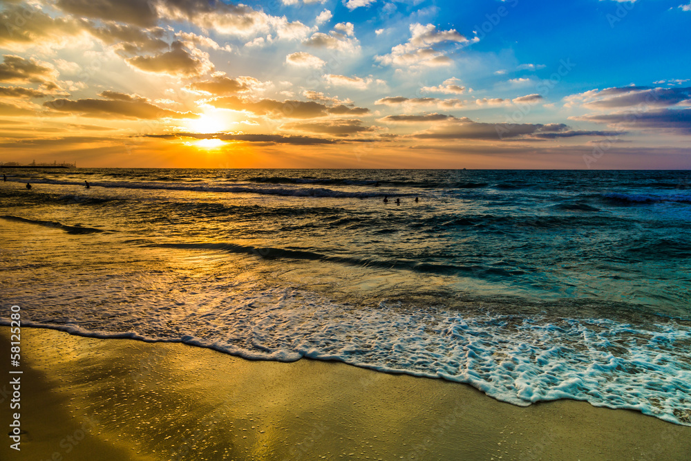Fototapeta Dubai sea and beach, beautiful sunset at the beach