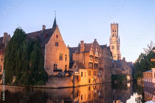 Wall Murals Bridges Canal in Bruges, famous city in Belgium
