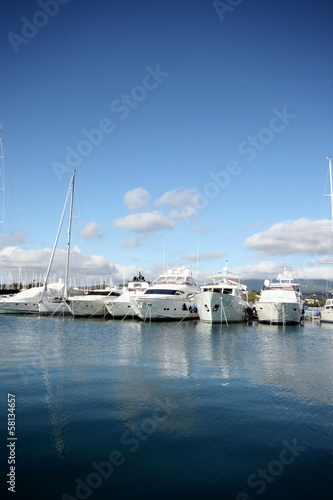 Garden Poster Water Motor sports yachts in a marina