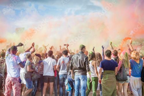 Foto op Plexiglas Bedehuis Celebrants at the color Holi Festival