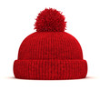 canvas print picture - 3d red knitted winter cap on white background