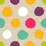 Hand-drawn polka dot seamless pattern - 58141616